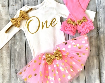 Pink and gold first birthday outfit, gold glitter one bodysuit, gold birthday outfit first birthday outfit, pink and gold tutu, birthday set