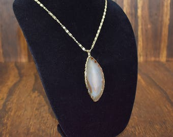 Gold Tone Necklace with Brown Stone Pendant
