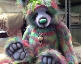 KIT to make Jumbo 33inch KITTIE artist bear from rainbow faux fur - design by Emma's Bears