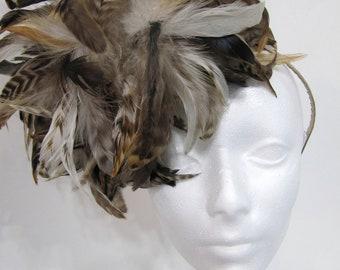 Ladies fascinators- Derby days-  Horse race- Derby Fascinator-- Brown headpiece -Tea party - Bridal Tea Party shower- Ladies who Lunch