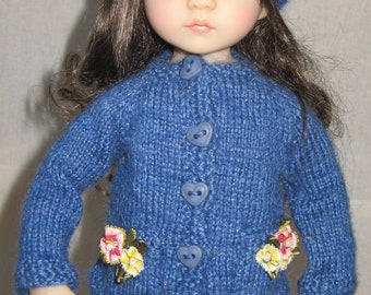 """Hand knitted flared jacket for Little Darling and Kaye Wiggs 14"""" BJD"""