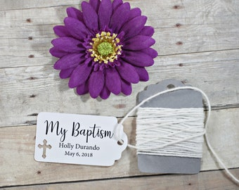 White Baptism Tags 20pc - My Baptism - Thank You Tags for Confirmation - White Catholic Favor Tags - Christian Party Favor Tags