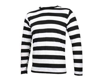 Men's Long Sleeve Black & White Striped Shirt