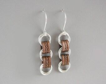 Link Earrings, Copper Jewelry, Trendy Earrings, Metal Jewelry, Cool Earrings, Link Jewelry, Mixed Metal Earrings, Latest Earrings, OOAK