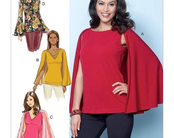 Butterick Pattern B6490 Misses' Tops with Attached Cape and Sleeve Variations