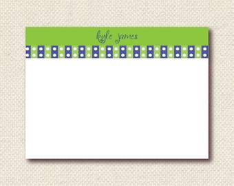 Boy stationery with navy and lime green dots and lines (BA1205_TY). For personalized digital download or printed.
