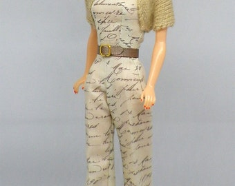 Dried Flowers Collection. LIMITED EDITION. Vintage Style Palazzo Jumpsuite and shrug for Barbie doll by Dollydolls. NEW !!