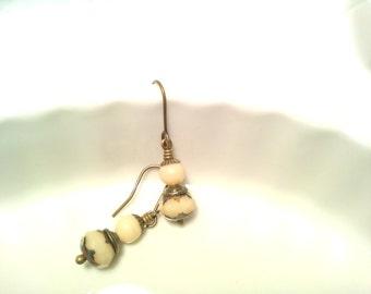 Vanilla Cream Vintage Look Earrings Simple Czech Bead Earrings Beaded Earrings Cream Jewerly Art Deco Light Beaded Dangles Ten Dollar Gift