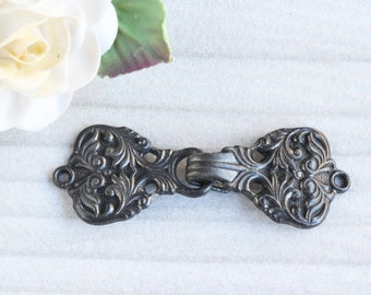 Vintage French Buckle, Dark Patina Part Great as a Clasp for Assemblage Projects