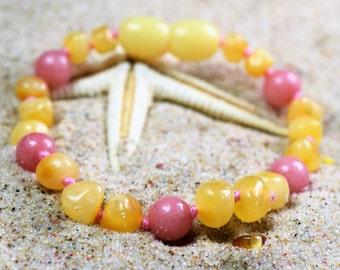 Genuine Baltic Amber Baby  Bracelet, Baltic amber. Amber bracelet - anklet. Baltic amber bracelet. Baby amber bracelet