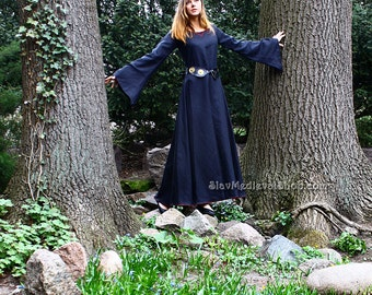 Fantasy dress inspired by the Middle Ages, Goth style,  medieval dress made of 100% linen