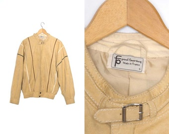 Vintage Paul Fourticq jacket. Beige jacket. Mens coat. 70s jacket. Made in France. Milano-Italia Alcantara.