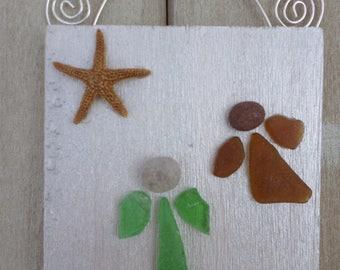 Sea Glass Angel Ornament/Wall Hanging (2 angels)