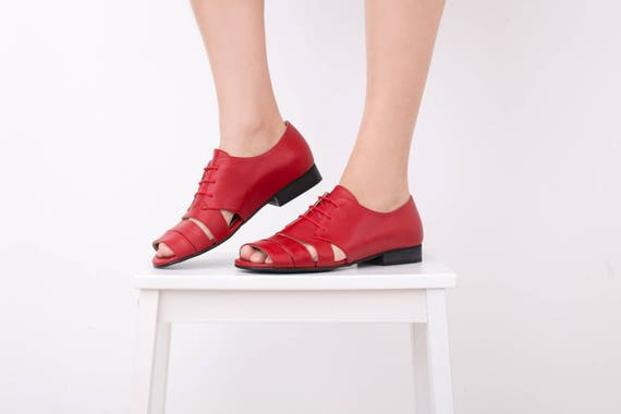 Red Women's open Sandals sandals free shoes wide Leather Flat strips shipping toe Sandal Sale On ADIKILAV IIUqr