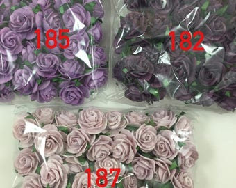 50 Variations Listing Mulberry Paper Flowers Scrapbooks Wedding Cupcake Cards Dolls Crafts Roses R6-Purple Shade