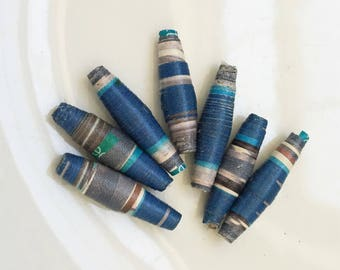 eco friendly blue and gray handmade paper beads for creating ooak diy jewlery--lot of 7