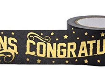 Gold Foil Fox Congratulations Tape . 10 yards (1 roll) Congratulations Foil Washi Tape