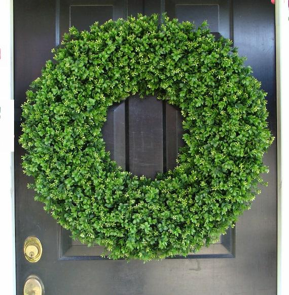 Outdoor Door Wreath All Seasons Artificial Boxwood Wreath, XXL Front Door Decor