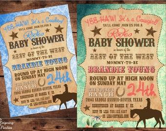 Vintage Western Baby Shower Invitation - Cowgirl - Cowboy - Baby Shower - Digital File