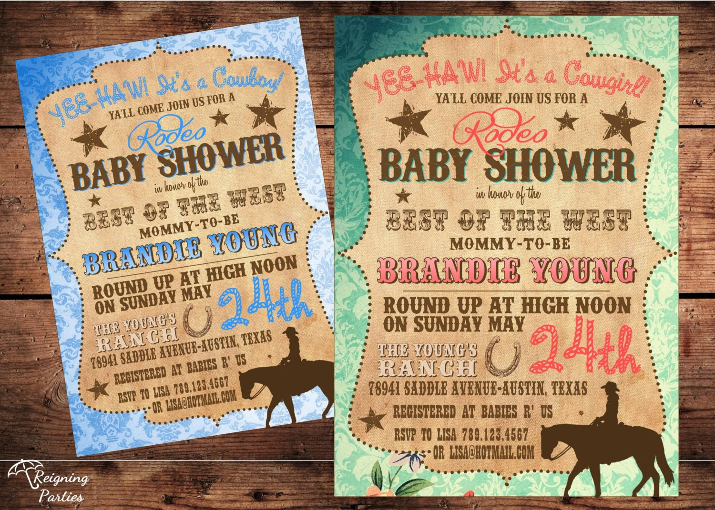 Vintage Western Baby Shower Invitation Cowgirl Cowboy