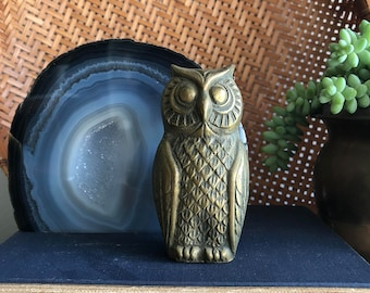 vintage brass owl figurine retro mod boho bird big eyed