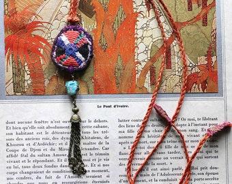 Necklace textile  pendant : southern sun
