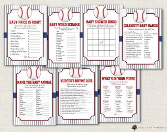 Baseball Baby Shower Games - Baseball Shower Games, Vintage Baseball Shower Games, Baseball Baby Shower, Little Slugger - Printable, DIY