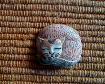 Larger Carved Bone Brown Sleeping Cat Bead - 1 1/8 Inch