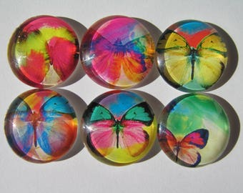 Set of 6 glass cabochons-25 mm with images of butterflies original fancy colored