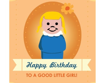Fisher Price Little People Girl Birthday Card