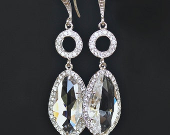 Brilliant Clear Crystals Set with Cubic Zirconia Together with Pave Crystal Links on Crystal Detailed Silver French Earrings