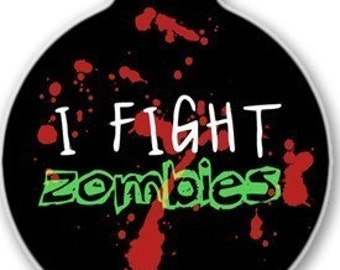 Zombie Fighter ID Tag - Custom, Metal, Fully Personlized - Higher Quality