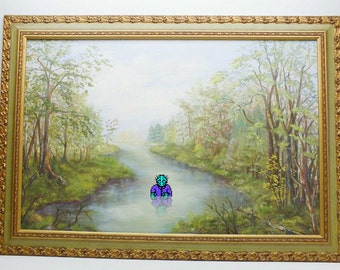 Jason Voorhees Altered Thrift Store Art Repurposed Thrift Store Painting Video Game Art 8-Bit Nintendo NES Friday the 13th Camp Crystal Lake
