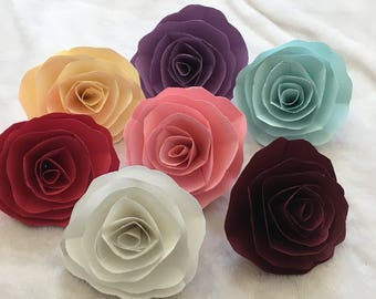 Paper Flowers - 10 Hand Made Paper Roses perfect for party Backdrop and Home Decor