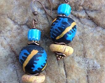 African Sandcast Dangling Earrings