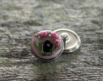 Fantasy Floral Snap Button Pink Fairy House