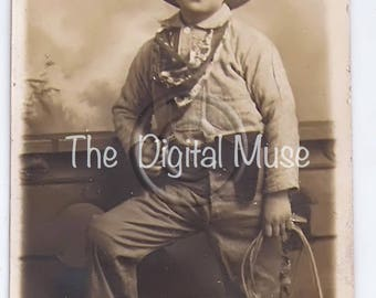 Little Cowboy Instant Download Vintage Photo