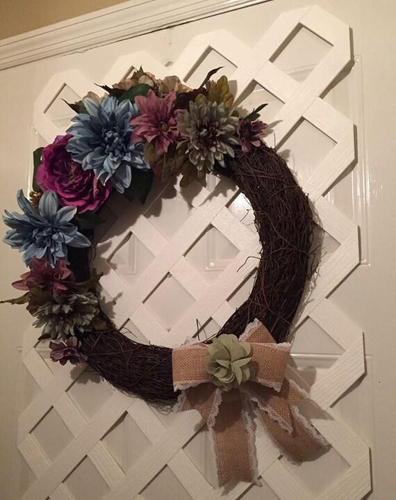 Victorian Wreath - Mother's Day - Spring Wreath - Summer Wreath - Door - Front Door Wreath - Elegant Wreath -  Garden Wreath -  Shabby Chic