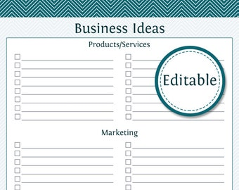 Business Ideas - Fillable - Business Planner - Printable Organizational PDF - Instant Download