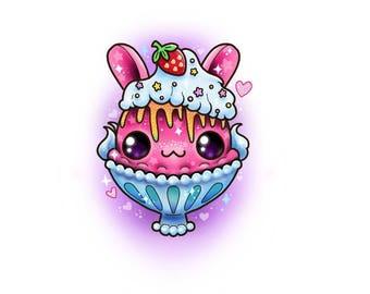 Sparkle bunny parfait sticker // glitter kawaii cute rabbit pink lolita decora stickers sweets dessert