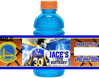 12 Waterproof Basketball Golden State Warriors Birthday Party Gatorade Labels 12 oz Mini Party Favors Stephen Curry