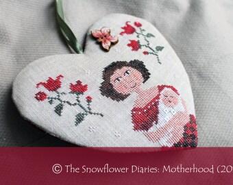 MOTHERHOOD official printed cross stitch pattern, primitive, mother, baby, sampler