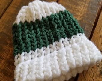 Green and White newborn hat
