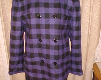 Vintage Louis Feraud Blue and Black  Check  Wool Suit, Size 14      #3244