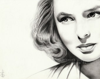 Art Print signed, portrait of Ingrid Bergman, graphite drawing