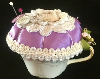 Repurposed vintage haviland France fine china teacup pincushion