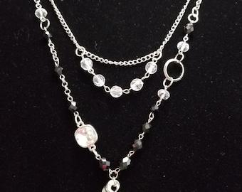 Black, Silver and Crystal Beaded Necklace, Vintage, Repurposed, OOAK