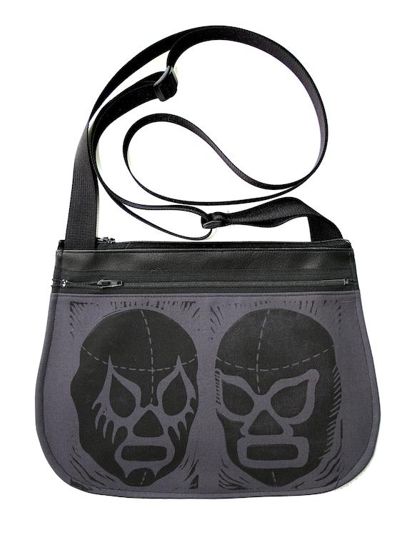 Luchadors, block print, dark grey, black vinyl, cross body, vegan leather, zipper top