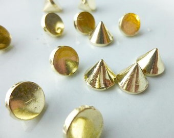 50 Gold Rivet Stud Spikes - 10mm - Acrylic - Sew on - Glue on -  Rivets Studs Spike