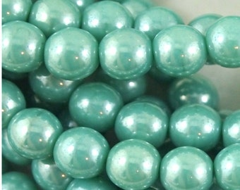 Czech 6mm Pressed Glass Druk beads- Luster Green Turquoise- Qty 25 (CZ 6D LT)